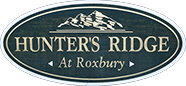 Entry sign for Hunter's Ridge, a neighborhood of lovely Colonials in the Ledgewood section of Roxbury Twp in New Jersey.